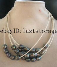 """5strands black freshwater pearl and white leather necklace 18"""" nature beads gift"""