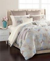 Martha Stewart Faded Floral QUEEN Comforter Set Taupe Blue Mauve Beige 12pc