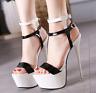 Women's Super High Heels Platform Stiletto Ankle Strap Sandal Party Shoes Pumps