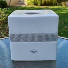 "NEW Bella Lux White Ceramic Crystal Rhinestones TISSUE Box Cover 6"" Kleenex"