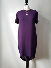 & Other Stories Purple Shift Dipped Hem Smock Lagenlook Dress UK 8 Pockets Zip