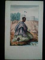 Rarissime Esquises Sénégalaises gravure couleur originale Marabout 1853 Boilat