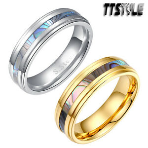 TTstyle 6mm S.Steel Mother Pearl Wedding Anniversary Band Ring Silver/Gold New