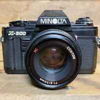 Minolta X300 35mm SLR Film Camera & 50mm F1.8 Lens + Flash , Lomo, Retro Student