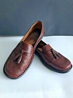 Womens Born Leather Slip On Loafers Shoes Brown Tassels Size 9