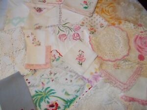Vintage Linens Cutters Lot Doilies Hankies Runners Tablecloth Napkins Crocheted