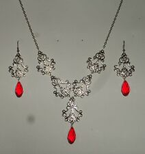 FILIGREE VICTORIAN STYLE SILVER PLATED RED BRIOLETTE DROP NECKLACE EARRING SET