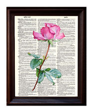Pink Rose - Dictionary Art Print Printed On Authentic Vintage Dictionary Book