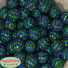 20mm Royal Blue and Green Stripe Rhinestone Bubblegum Beads 20pc lot gumball
