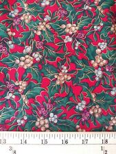 CHRISTMAS GOLD TRIM HOLLY BERRIES Fabric By the HALF Yard 100% Cotton