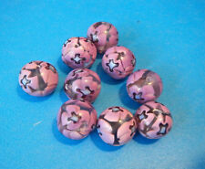 "9 Vintage Glass Beads Clear with Pink & Blue Painted Designs 1/2 "" Wide New"