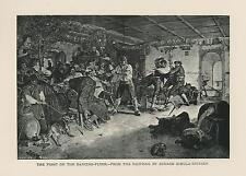 ANTIQUE MUSCLE MAN BRAWL FIGHT ON DANCING DANCE GERMAN SHPEPHERD DOG SMALL PRINT