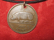 AUTHENTIC VINTAGE  RUSTIC IRISH IRELAND PIG/HARP COIN PENDANT NECKLACE