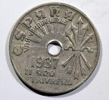 España 25 Centimos 1937 II° AÑO TRIUNFANTE GUERRA CIVIL FRANCO KM:753 F2E