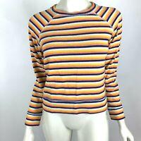 Madewell Shrunken Sweatshirt Broadway Stripe Long Sleeve Cotton Knit Top Women S