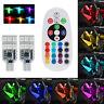 2 x 5050 RGB T10 194 168 W5W 12 LED Car Interior  Side Light Remote Control