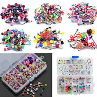 Wholesale Lots Mixed Lip Piercing Body Jewelry Barbell Rings Tongue Ring 60FBDU