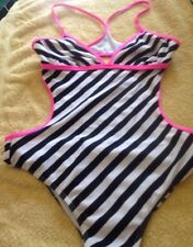 Billabong One Piece Swimsuit Backless black and white Striped Size M