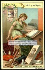 Graphic Arts Woman PRETTY Art Nouveau c1899 Card