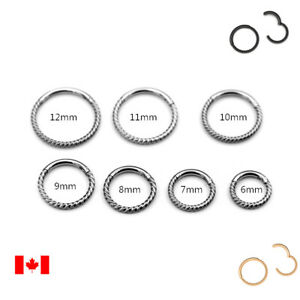 Pair twisted bar Nose Ring Septum Hoop Surgical Steel Hinged Segment Ring 16G