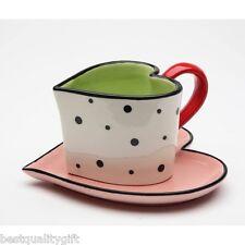 2 Pc Happy a Forma di Cuore SAN VALENTINO Pois Tè Tazza,Teacup,Tazza