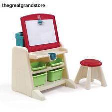 Easel for Kids Portable Desk Stool Storage Whiteboard Flip Display Sides Art Cup