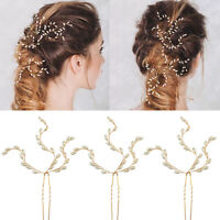 Fashion Golden Wedding Bridal Flower Leaves Crystal Hair Pins