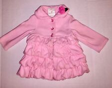 NWT Mack & Co Pink Fleece Ruffle Coat Jacket Flower And Bling Buttons 2T