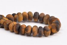 """6x4MM Natural Matte Yellow Tiger Eye Grade AAA Rondelle Loose Beads 7.5"""""""
