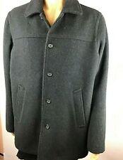 J Crew Mens University Jacket Size L Black Wool Stadium Cloth 100% Wool