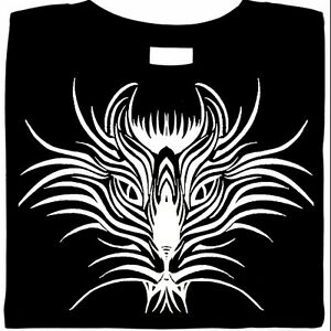 Tribal Tiger Shirt, Graphic Image of Large Cat, Stylized Kat T-Shirt, Sm - 5X