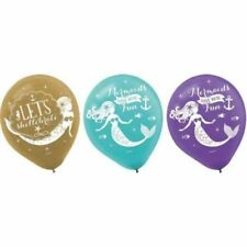 Lot 12 MERMAID WISHES LATEX BALLOONS Birthday Party Supplies Helium Decorations