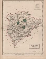 ANTIQUE S.HALL MAP OF RUTLANDSHIRE  - PUBLISHED BY CHAPMAN & HALL (c1845)