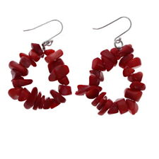 Red Coral Chip Earrings, Sterling Silver, Bold Dangle Earrings, 925 Stone Loops