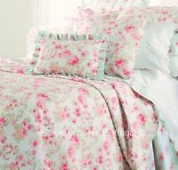 SUMMERS COTTAGE PINK PEONY ROSES AQUA SHABBY COTTAGE CHIC FULL QUEEN QUILT SET
