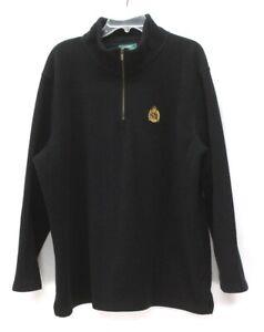 womens black RALPH LAUREN soft fleece pullover 1/4 zip CREST sweater jacket 3X