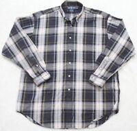 Ralph Lauren Dress Shirt Large Cotton Long Sleeve Button Up Mens Blue White Mens