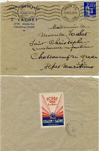 FRANCE 1938 EXHIBITION FOIRE LABEL CHALON s SAONE MACHINE PMK PRINTED ENV VACHET