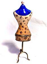 Limoges France French Fashion Dress Form Trinket Box Peint Main Limoge Scissors