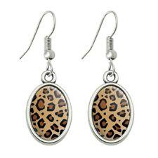 Leopard Print Animal Spots Novelty Dangling Drop Oval Charm Earrings