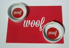 2 x Mason Cash Ceramic Dog Bowls And Place Mat Red Woof Food Water Puppy Pet