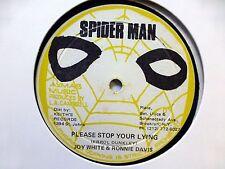 "JOY WHITE & RONNIE DAVIS 12"" Please Stop Your Lying SPIDER MAN roots reggae #750"