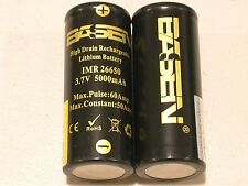 2 BASEN IMR 26650 HIGH DRAIN 50A / 60A 5000mAh RECHARGEABLE BATTERY 3.7v  w/case