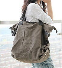 KOUKO™ Canvas leather Women Shoulder Satchel Tote Handbag Bag unisex. Khaki,