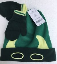 CARTERS Boys 2t - 4t Winter Stocking Hat & Mittens Green Monster Mask 3 Pc. NWT