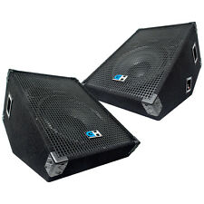 1600W Pair of 15 Inch Passive Wedge Monitor Stage PA Speaker for Band DJ Karaoke