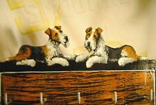 OriginAl Painting~Fox Terrier~Dog~Key~Hook Board~Leash~Hand Painted~Whimsical