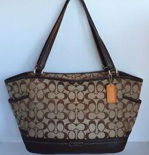 COACH F23297 Park Signature Carrie Khaki Mahogany Shoulder Tote Handbag