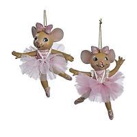 "4"" Set/2 Kurt Adler Pink Ballet Ballerina Mouse Christmas Tree Ornaments Decor"