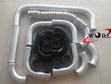 "3"" BLK Aluminum Universal Intercooler Turbo Piping + hose + T-Clamp kits 12pcs"